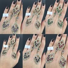 925 SILVER HANDMADE JEWELRY PRECIOUS GEM NEW DESIGN EARRING & RING SET