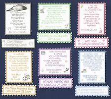 6 NAMING DAY Greeting Card Verse Toppers W/WO Matching Sentiment Banners