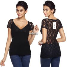 Women Sexy V-Neck Short Sleeve Lace Patchwork See-through Slim Blouse Tops ONMF