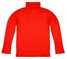 Girls Boys Red Polo Roll Turtle Neck Stretch Long Sleeve Top Shirt 4 to 13 Years