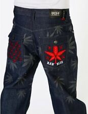 MENS RAW BLUE WEED HIP HOP GANJA ECKO JEANS 32 34   WAIST MONEY UNIT G FUBU