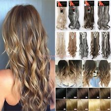 Lady 8Piece Double Weft Full Head Clip In Extra Thick Hair Extensions Synthetic