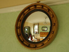 Vintage Gilded Gesso Convex Porthole Mirror with Ball Decoration Excellent