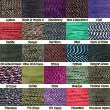 550 Paracord Mil Spec Type III 7 strand cord Multi Colors 10, 25, 50, 100 Feet