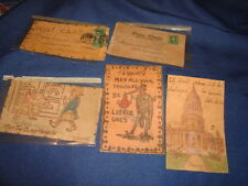 VINTAGE LEATHER POSTCARDS 1900's LOT OF 5