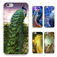 Painted Peacock Print Case Cover for iPhone 5C 5 6 7 Plus Samsung S6 S7 Dazzling