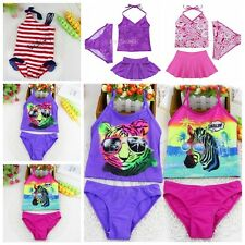 3PCS Girls Kids Halter Swimsuit Floral Tankini Set Bathing Suit Swimwear 2-14Y