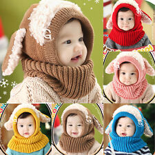 Baby Kids Girls Boys Winter Warm Knitted Woolen Coif Hood Scarf Caps Hats 6-36M