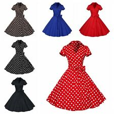 1950s Retro Lady Polka Dot Swing Housewife Vintage Pinup Rockabilly Party Dress