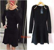 NWT ZARA AW16 WOMEN BLACK KNITWEAR COLLECTION BUTTONED KNIT DRESS Sz-S BLOGGERS!