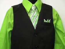 Vangogh boys lime green long sleeve 4 piece dress set. Size 4