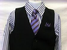 Vangogh boys white & lilac stripe 4 piece long sleeve dress set 12m - 24m