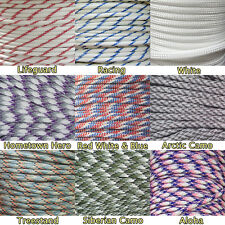 550 Type III 7 Strand Mil-Spec Commercial Paracord White Colors 10' 25' 50' 100'