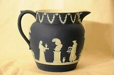VINTAGE WEDGWOOD ENGLISH POTTERY - LARGE POURING PITCHER-BLUE WITH GREAT DETAIL
