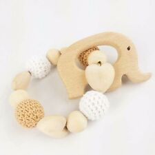 Elephant Wooden Teether Natural Organic Baby Toy Gift Bracelet Rattle Montessori