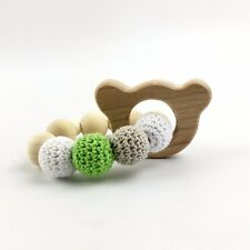 Teddy Wooden Teether Chew Baby Crochet Beads Nursing Toy Rattle Montessori Pram