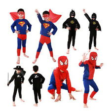 Kids Boy Superhero Costume Cosplay Party Spider man Batman Halloween Gift S-L