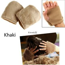 New Women Warm Faux Fur Fingerless Gloves Wrist Hand Warmer Mittens Mitt EA77