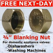 "Brass ¾"" STOP END CAP Hex Nut BSP Blank Dishwasher Washing Machine Radiator 3/4"