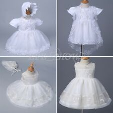 Infant Baby Girls Baptism Princess Dresses Christening Embroidered Floral Dress