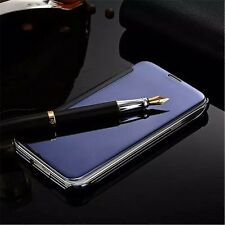 Ultra Thin Mirror View Flip Plated PC Leather Cover Case For iPhone/Samsung/LG S