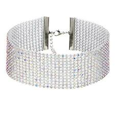 Silver Plated Colorful Diamante Crystal Party Wedding Choker Necklace Rhinestone
