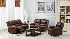 New Lincoln Bonded Leather Electric Recliner Sofa Suite All Seaters - Chestnut