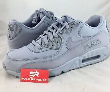 New Mens Nike Air Max 90 Leather Running Shoes Triple Wolf Gray 95 337384-068 c1