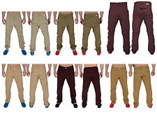 Mens Chinos Soul Star Drop Crotch Cuffed Carrot Fit Twisted Trousers Pants New