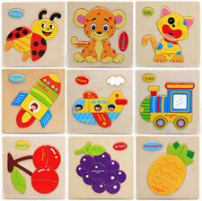 Hot Baby Wooden Cartoon Animals Dimensional Puzzle Toy Children Jigsaw Puzzle