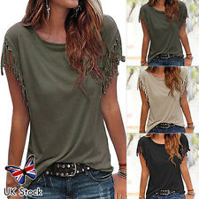 Womens Casual Tassel Fringe Blouse Ladies Casual Loose Top T Shirt UK Size 6-18