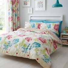 New Catherine Lansfield Stab Stitch Multi Floral Duvet Cover Bedding Set
