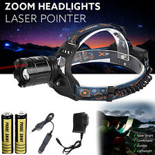 CREE XM-L T6 LED Focus Laser Headlight Head Lamp Zoomable + 2x 18650 + Charger