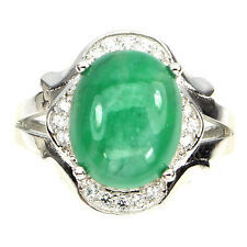 Gorgeous Natural 12x10 Mm Top Rich Green Emerald W Cz 925 Sterling Silver Ring
