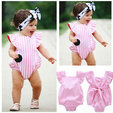 Infant Kids Baby Girls Striped Bodysuit Romper Jumpsuit Playsuit Outfits Clothes