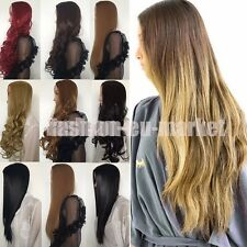 Sexy Ladies 3/4 Half Wig Cap Wigs Long Straight Curly Wavy Medium Brown Black UK