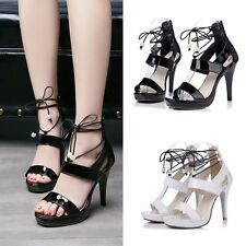 Womens Pumps Platform Peep Toe Stilettos High Heels Party Lace Up Shoes Sandals