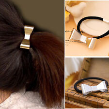 Silver Gold Bowknot Metal Elastic Holder Hair Cuff Tie Band Rope Ring Wrap Gift