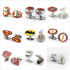 HSIC JEWELRY Metal Alloy Superhero Cuff Link Superman Spider-Man Iron Man  Ca...