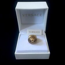 NWT $525 Versace Men's Women's Gold Medusa Crystal Greek Key Logo Ring AUTHENTIC