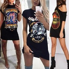 Sexy Women Summer Casual Printed Loose T-Shirt Dress Off Shoulder Party Club Tee