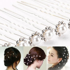20Pcs Wedding Bridal Pearl Flower Crystal Hair Pins Clips Bridesmaid Stylish