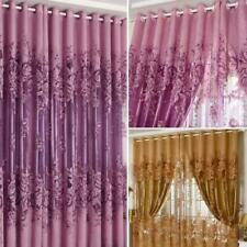 Vintage 250*100cm Peony Beads Voile Home Room Window Tulle Sheer Curtain 4 Color