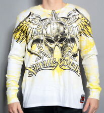 NEW AFFLICTION MENS XTREME COUTURE HEAD GEAR WHITE THERMAL SHIRT
