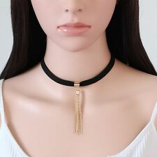 Bib Statement Women Jewelry Collar Choker Necklace Black Velvet Chunky Chain