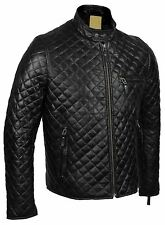 Mens Real Leather Black Smart Casual Quilted Biker Style Bomber Jacket