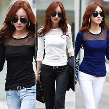 New Fashion Women Long Sleeve Shirt Casual Lace Patchwork Cotton Tops T Shirt