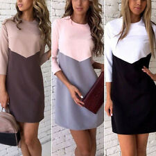 Women Elegant 3/4 Sleeve Loose Fight Color Slim Dress Party Clubwear Ball Gown