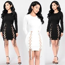 Women Ladies  Lace up Bodycon Dress Sexy Hollow Out Mini Clubwear Cocktail