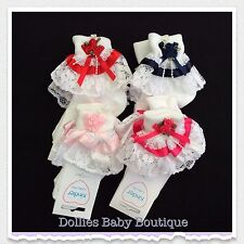 Baby Girls White/Red/Navy/Pink/Cerise Rosebud/Pearl & Lace Frilly Socks